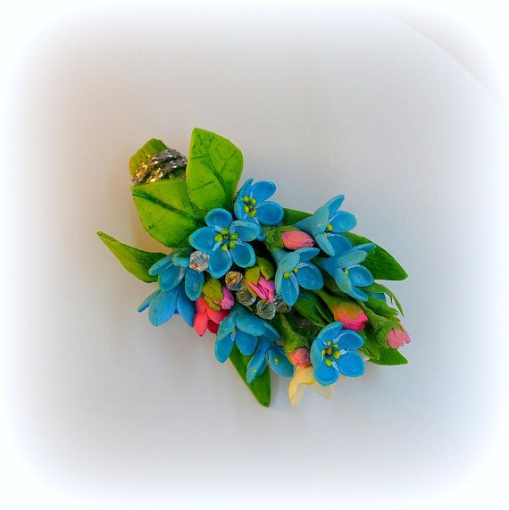 The Barrette with flowers forget-me-nots and beads Barrette with blue flowers The spring barrette floral jewelry Flower headpiece  bridal