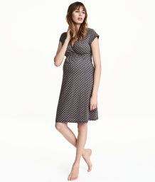 Dark gray/patterned. Knee-length nightgown in cotton-blend jersey with a printed pattern. Cap sleeves, wrapover front section for easier nursing, and