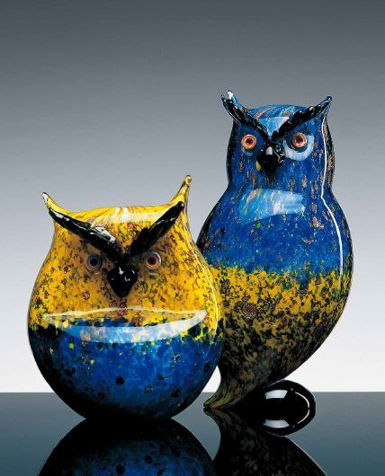 Murano glass art owls