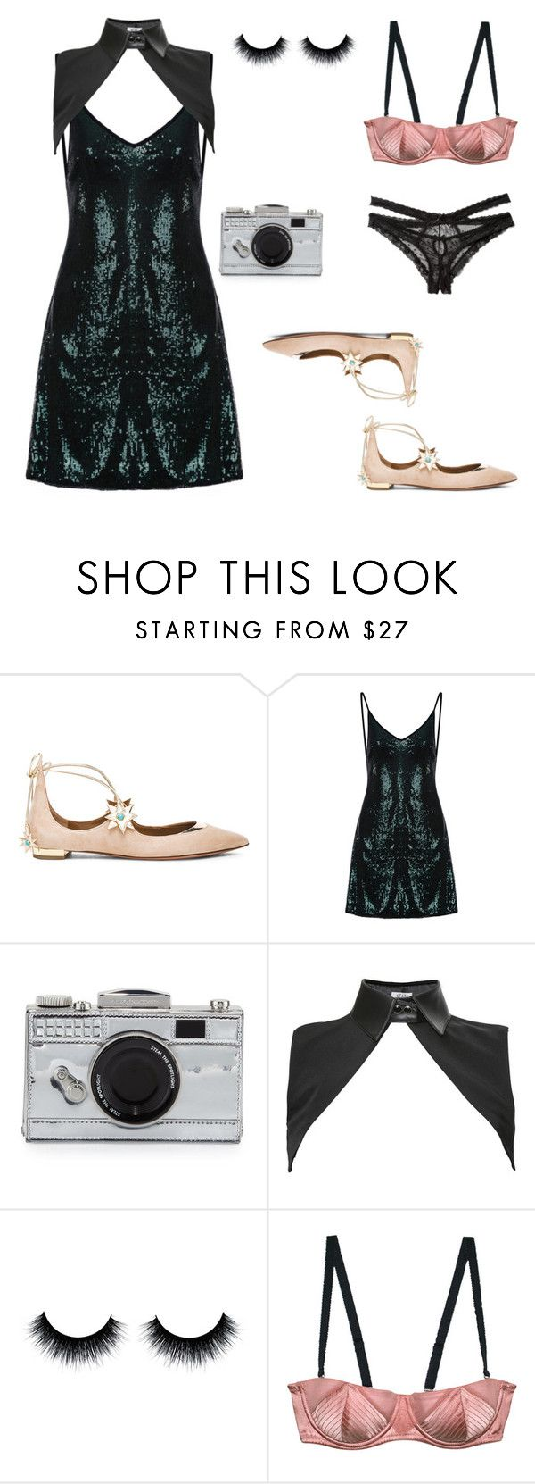"""""""sexy granny"""" by gabrielamovaseghi ❤ liked on Polyvore featuring Aquazzura, Kate Spade, Neat Collar, Fleur du Mal and Honeydew Intimates"""