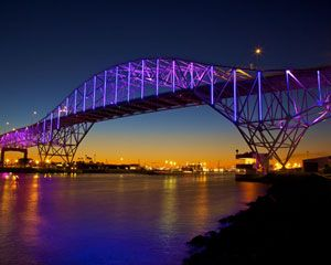 Corpus Christi Harbor Bridge, Corpus Christi, Texas, USA, In December 2011, the bridge took on new life with an advanced LED lighting system from Philips Color Kinetics. This new lighting system is energy-efficient and can be easily programmed to create different light shows. It has also helped to significantly boost tourism, one of the city's main sources of income.
