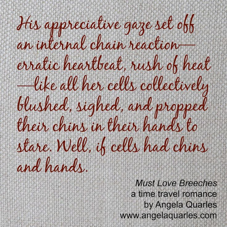 Isabelle's reaction to the hero, in Must Love Breeches, a time travel romance, by Angela Quarles