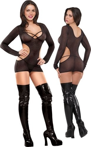 Sheer Black Cut Out Soft Stretch Crochet Dress and G-String