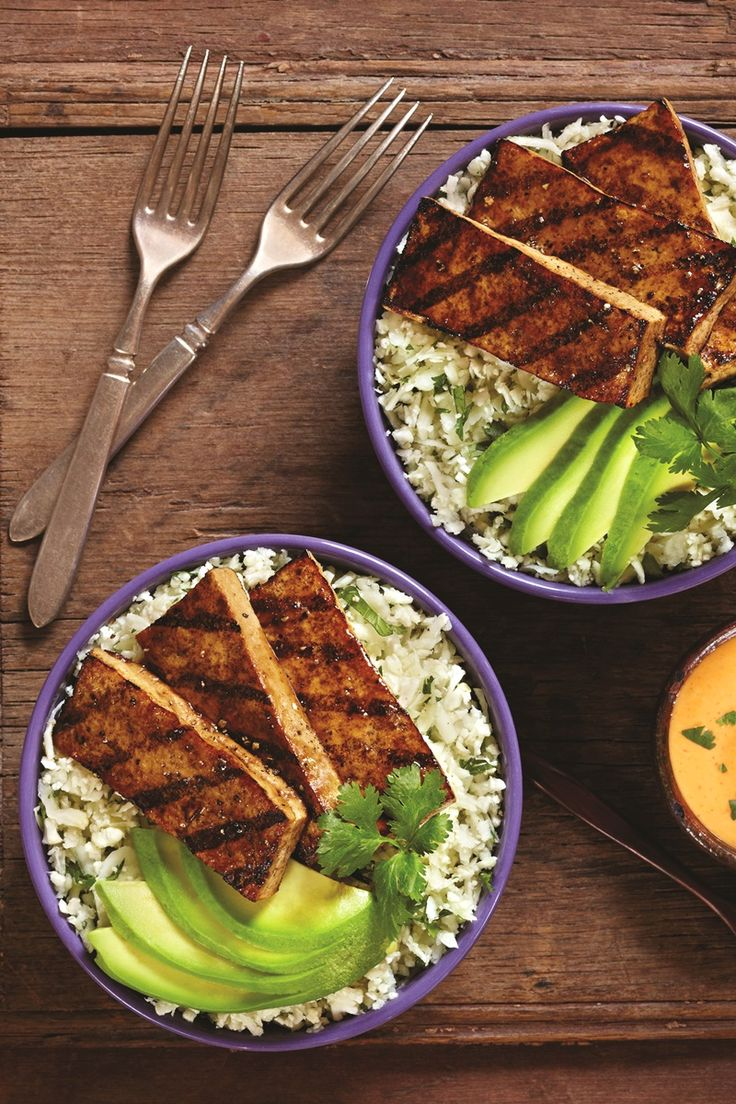 Balsamic Grilled Tofu with Cilantro Cauliflower Rice and Sriracha Mayo (Dairy-Free, Gluten-Free, Vegan Recipe)