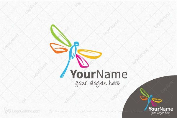 Logo for sale: Creative Colorful Dragonfly Logo