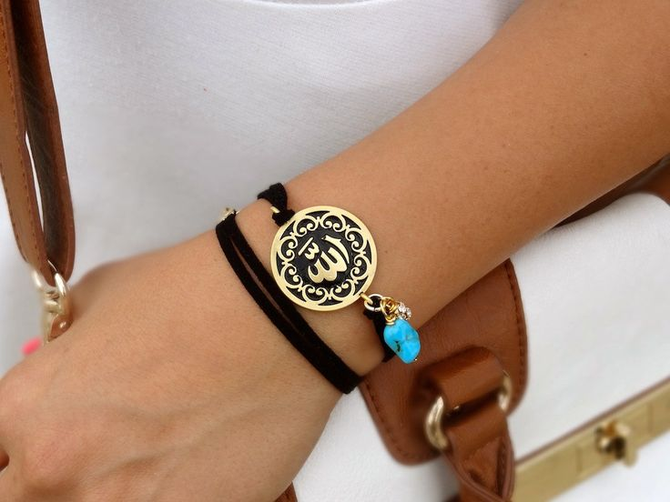 Allah Disk Wrap BraceletGold Plated Black on by MonAmourCollection, $37.00