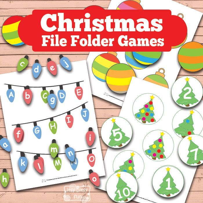 Itsy Bitsy Fun has FREE Christmas File Folder printable games. Thiswill help your kids learn letters of the alphabet, colors, shapes and much