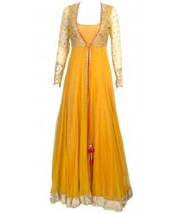 This Classy Exotic Trendiest Stylish Eastern Dress is a great choice when going to any party or occasion. A blend of Dabka and Tilla work Soft spread of booti all over yolk. Pure chiffon. Gown style front opening shirt. Bobble tassel bow. Trendy moast in color. Complete stitched dress.   REFERENCE: Br20140099