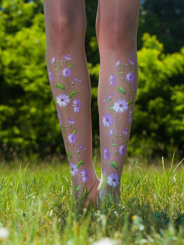 Purple flower tights | Virivee Tights