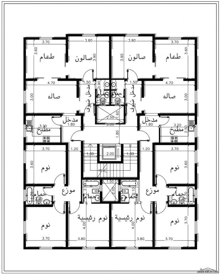 خرائط وحدة 5 شقق منفصلة 2 غرفة نوم لكل شقة من مشروع منزلك بالمدينة Building Design Plan Architectural Floor Plans Model House Plan