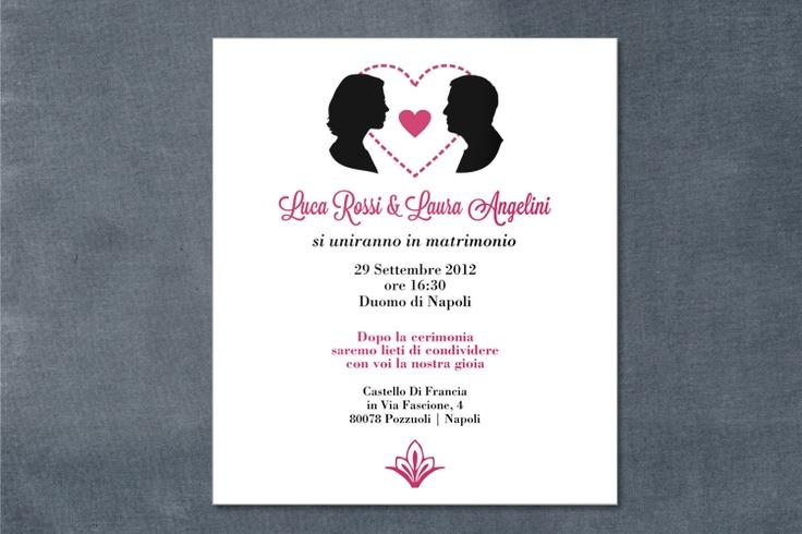 partecipazione di nozze - silhouette sposi    wedding invitations