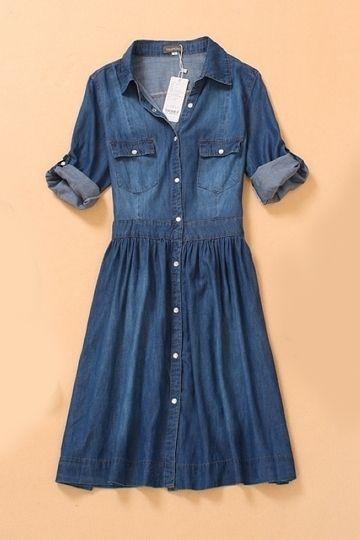 Half Sleeve Denim Dress with Buttons by Persun Sleeve Denim, Denim Dresses, Fashion, Plus Size, Woman, Quarter Sleeve, Half Sleeve, Denim Skirts, Jeans Women