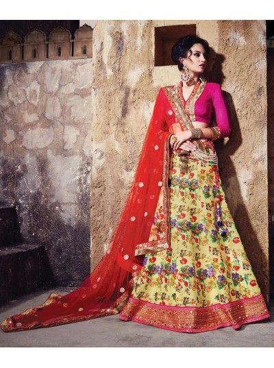 Buy Designer Lehenga Heavy Yellow Printed Stylish Embroidery Lehenga Choli with Raw Silk Blouse. COD and Free Shipping Avail in India