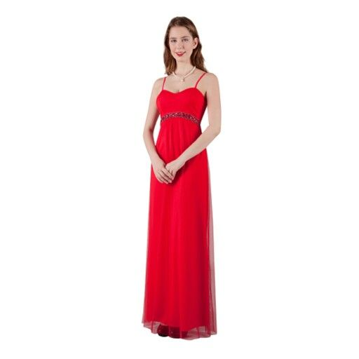 Simply elegant. This red tulle formal dress is great for any formal occasion or even as a bridesmaids dress.