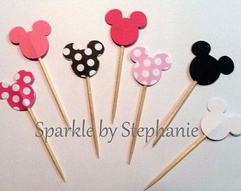 Minnie 24 & Mickey Mouse cure-dents - vous choisissez la couleur (s) - aliments Picks, Appitizer de tours de draft, Mini Cupcake Toppers
