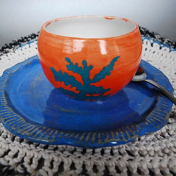 Orange Bowl with Teal Green Decoration by ButlerPottery on Etsy, $18.00