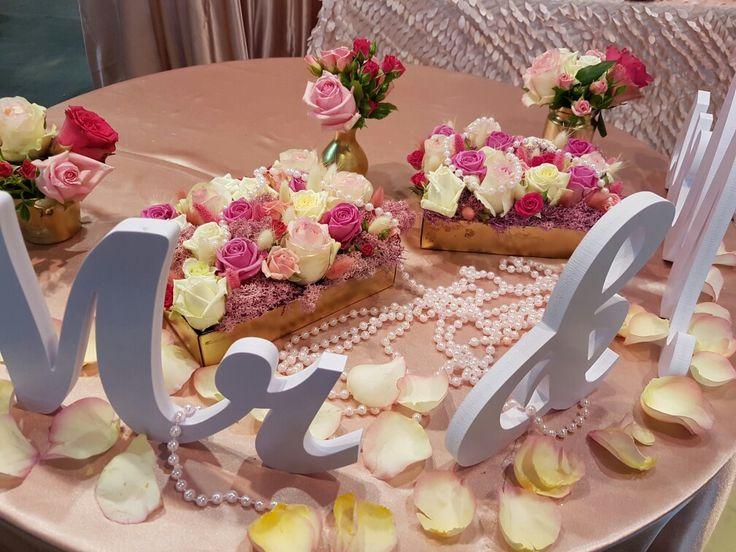 #table #asztal #rozsaszin #feher #mrandmrs #eskuvo #dekoracio #virag #gyongy #vintage #eskuvoszervezes