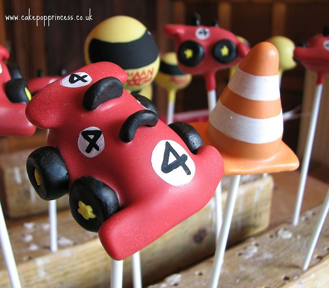 race car cakepops | racing themed cake pops personalised race car pops for a birthday ...