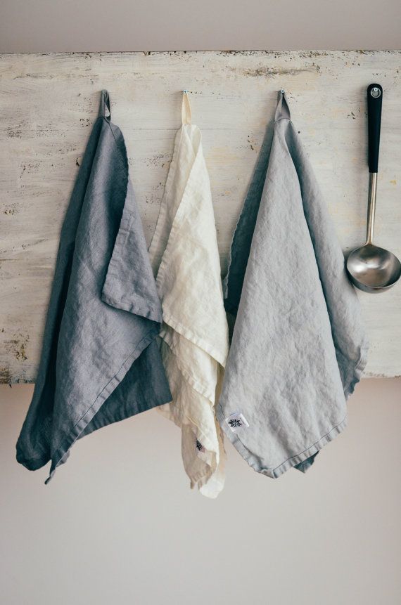 Set of 3 handmade and handwashed linen towels:    1 bluish grey washed linen towel;  1 white washed linen towel;  1 silver washed linen towel;    The set of kitchen towels - 3 x about 50 cm x 70 cm;  The set of bath towels - 3 x about 70 x 130 cm.    Do not hesitate to contact for custom order. If you want to buy more related items, please inform me, I will calculate the special price for you. Simply washed linen towels.  Simplicity. Handmade. Made to last.    DISCRIPTION:  -100 % natural…