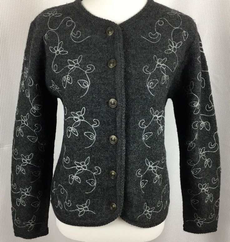 Tally Ho Creations Womens Size Small Embroidered Cardigan Sweater 100% Wool Gray  | eBay
