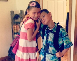 Marley and Ezra ready for their first day at New Franklin.