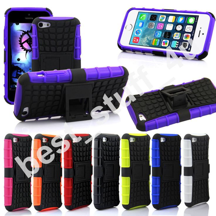 SHOCKPROOF IPHONE 5_5/s HEAVY DUTY CASE WITH STAND 8COLOUR FREE SCREEN PROTECTOR
