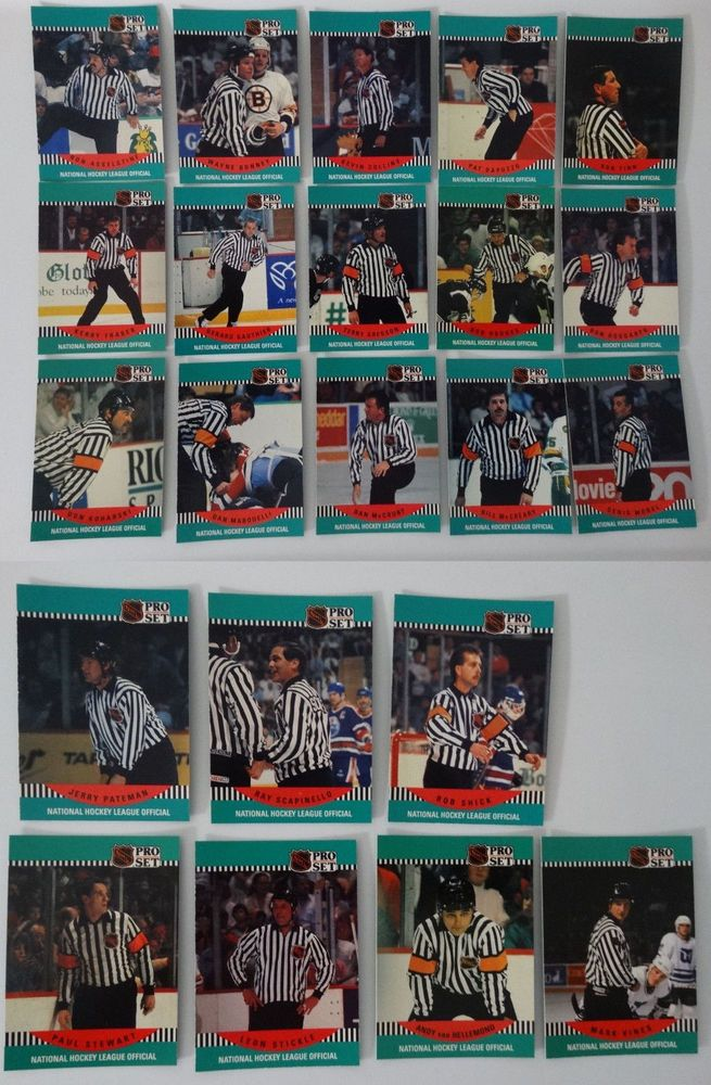 1990-91 Pro Set NHL Referee's Team Set of 22 Hockey Cards #Referees