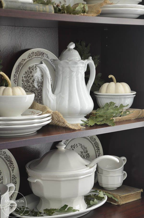 Decorating with Ironstone in the Fall & 286 best White Ironstone Pitchers and More images on Pinterest ...