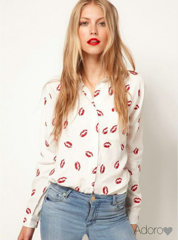'Hot Lips' chiffon blouse, stylish, cute See our facebook page xx