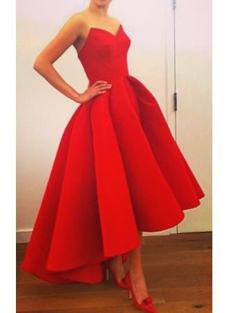 Sexy Red Sweetheart Hi-Lo 2015 Evening Formal Dress Satin Simple Design Elegant Long Prom