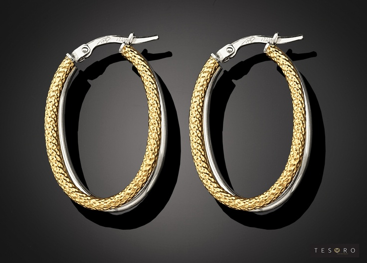 Tesoro Oval Earring - GV534/9E YW  Available in Yellow and white gold combination   RRP - $500.00