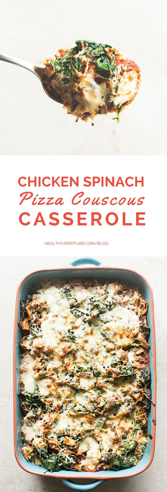 Chicken Spinach Pizza Couscous Casserole is the perfect make ahead meal with all the flavors of pizza in a casserole! (Make Ahead Chicken Meals)