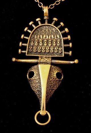 "Jorma Laine, vintage modernist ""Picasso"" inspired bronze pendant, 1970's."