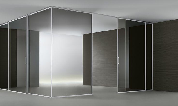 Velaria Rimadesio Sliding Doors Www.spaziomateriae.com Struttura Alluminio  Bianco E Vetro Grigio Trasparente | PORTE E SISTEMI | Pinterest