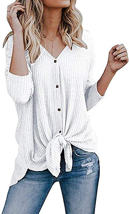 357c3b957 Chvity Womens Waffle Knit Tunic Blouse Tie Knot Henley Tops Loose Fitting  Bat Wing Plain Shirts (Medium, White) at Amazon Women's Clothing store: