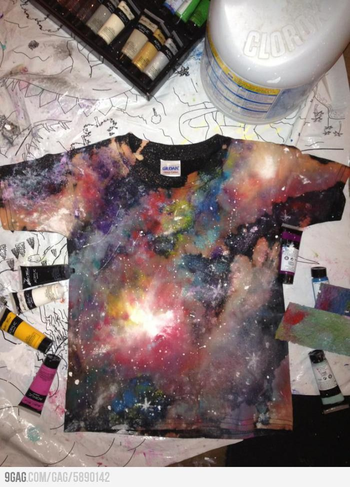 Use acrylic paint and bleach to make this awesome t-shirt.
