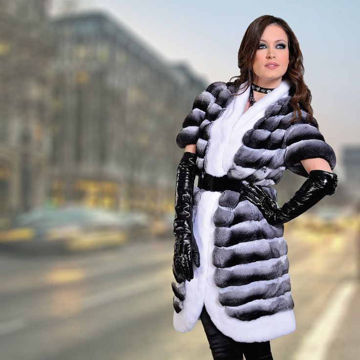 Chinchilla fur coat with white mink trimmings and leather gloves. A look made for a true diva.