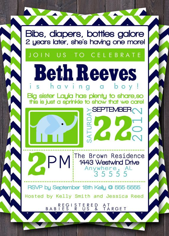 Modern BOY Typography Baby Sprinkle, Shower, Sip and See Invitation/Invite.  Blue, Navy,  Green, Yellow, Orange, Turquoise, Teal, Custom