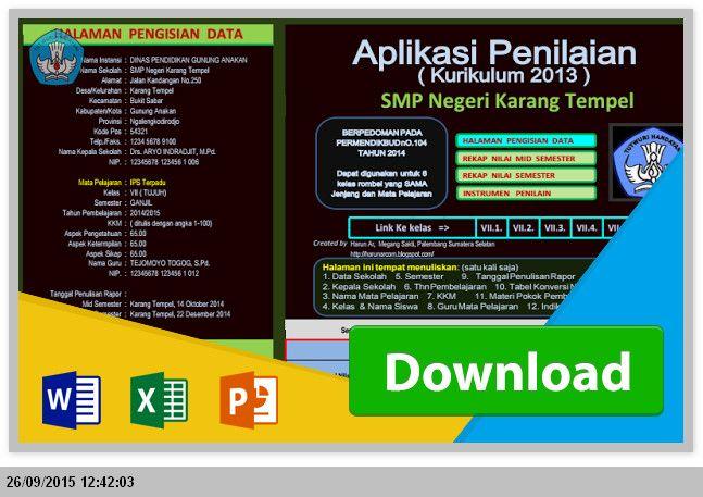 Administrasi Aplikasi Penilaian Kurikulum 2013 SMP dengan Ms. Excel Terbaru 2015 File Edukasi