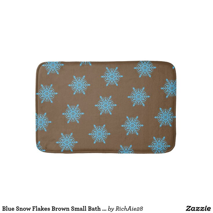 Blue Snow Flakes Brown Small Bath Mat