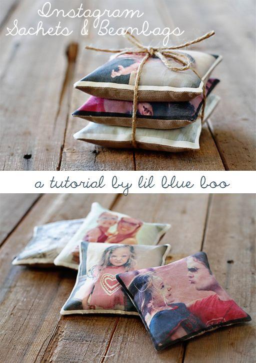 petit sachet de lavande avec photo / ideev cadeau noel; Instagram Sachets and Beanbags DIY Tutorial via lilblueboo.com