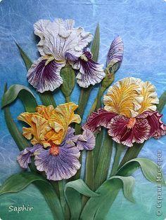 Картина панно рисунок 8 марта День рождения Квиллинг ИРИСЫ Бумажные полосы фото 1