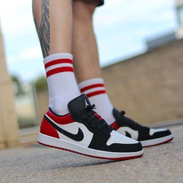 Nike Air Jordan 1 Low 'Black Toe' 553558 116 in 2020 | Air ...