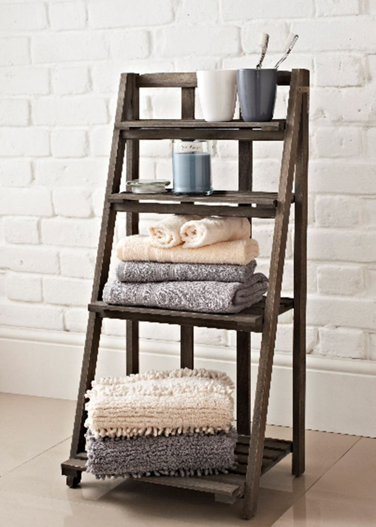 Slatted Bathroom Shelving Ladder Unit 40cm X 30cm X 80cm