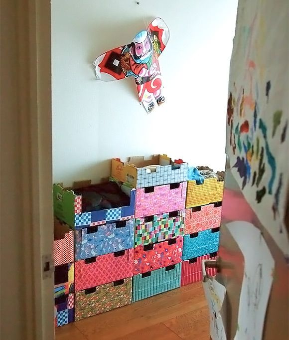 DIY Stackable Cardboard Dressers for Kids (made from recycled kiwi boxes)