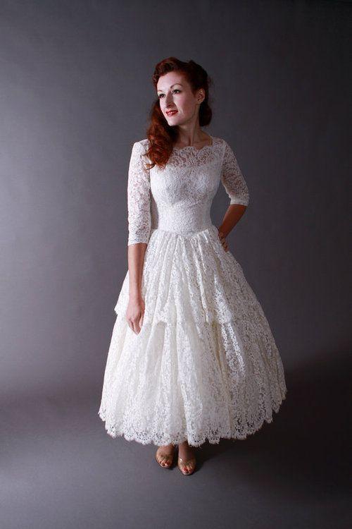 50s lace long sleeve tea length wedding dress
