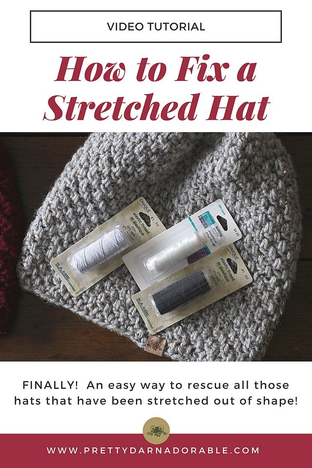 How to Fix a Stretched Hat using knitters elastic. This technique will work on any crochet or knit hat. Never toss your favourite hat for being to big again!!