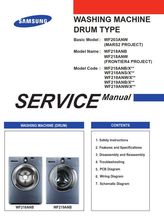 Samsung Wf219an Wf218an Washer Service Manual And Repair Instructions Washing Machine Service Front Loading Washing Machine Disassembly
