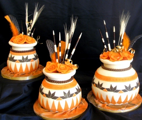 Three Traditional African Pots Wedding Cakes a