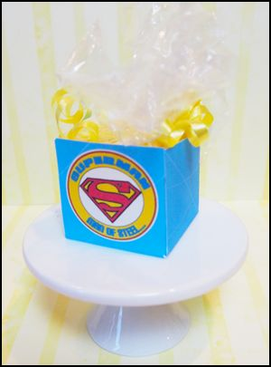 homemade party favors, superman goodie bags